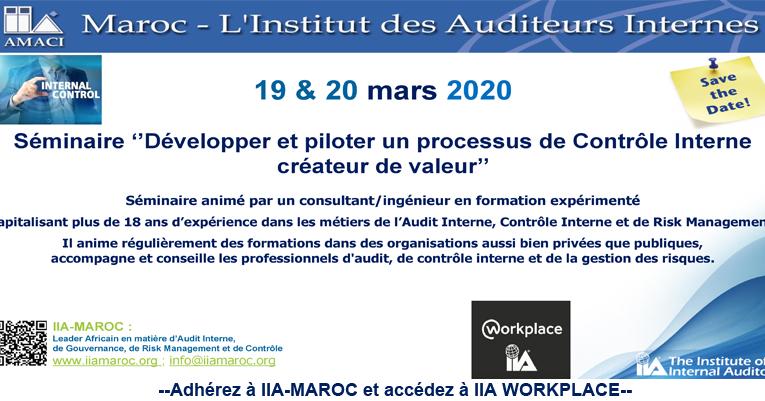 !!Reporté!! 19 et 20 mars 2020 : Séminaire 'Développer et piloter un processus de contrôle interne créateur de valeur' !!Reporté!!