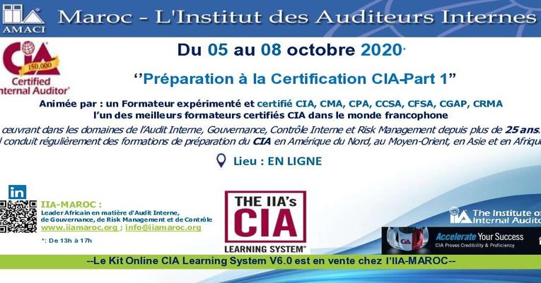 NEW! Préparation à la Certification CIA-Partie 1 : Du 05 au 08 octobre 2020 (EN LIGNE)