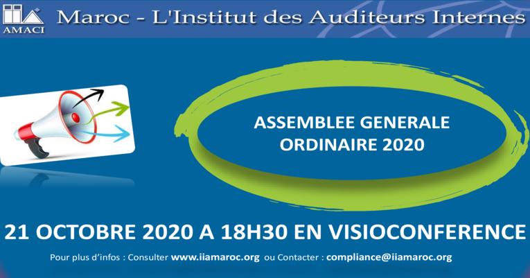 Assemblée Générale Ordinaire de l'IIA-MAROC : 21 octobre 2020 à 18h30 en visioconférence