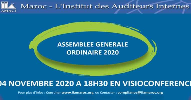 Report de l'AGO 2020 de l'IIA-MAROC au 04 novembre 2020 à 18h30 en visioconférence